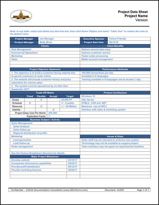 agile project data sheet