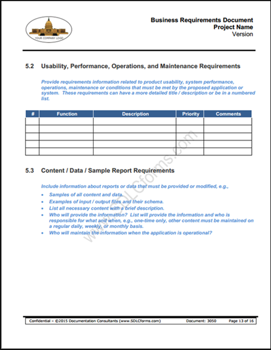 SDLCforms Business Requirements Document - How to write business requirements document