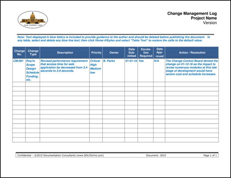 Change Management Log P01 700