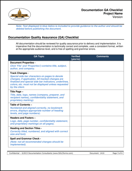 ... Documentation_QA_Checklist_Template P03 500 ...  Checklist Sample Format