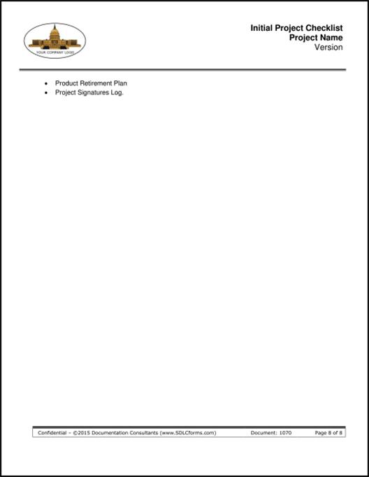 sdlcforms initiate project checklist