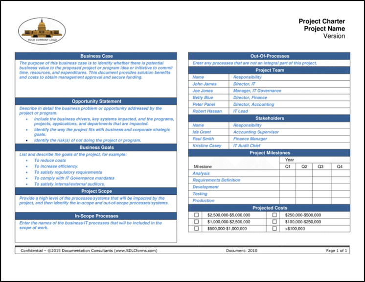 Sdlcforms project charter for One page project charter template