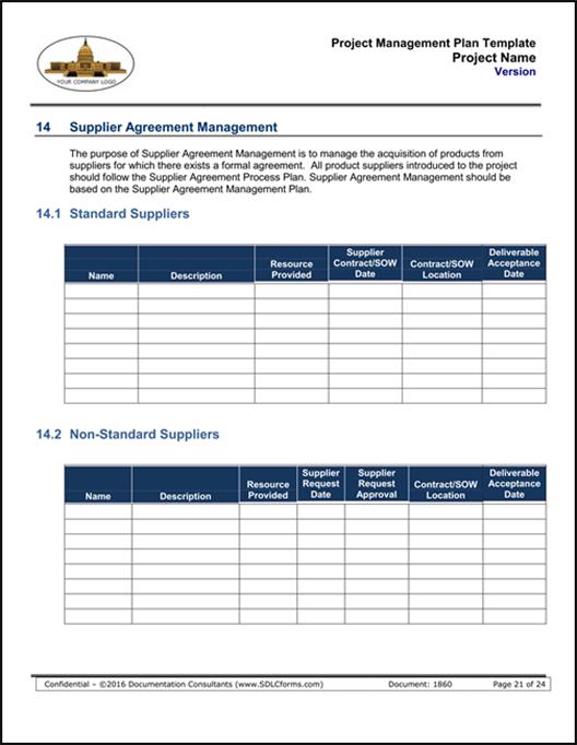 SDLCforms Project Management Schedule Template