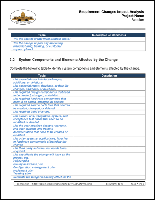 change impact assessment template - sdlcforms requirements changes impact analysis