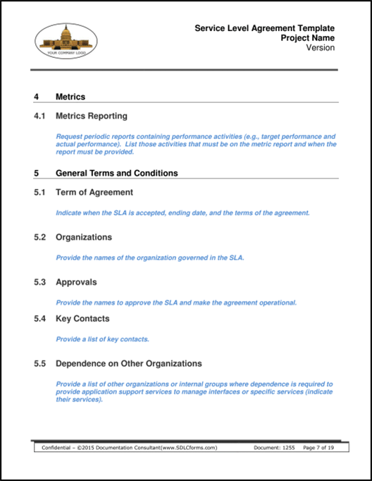 Service Level Agreement Template P07 500