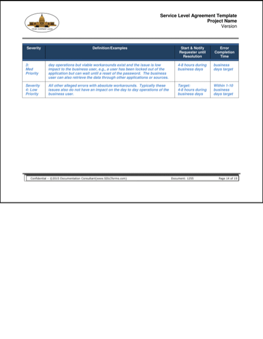 Sdlcforms Service Level Agreement Template