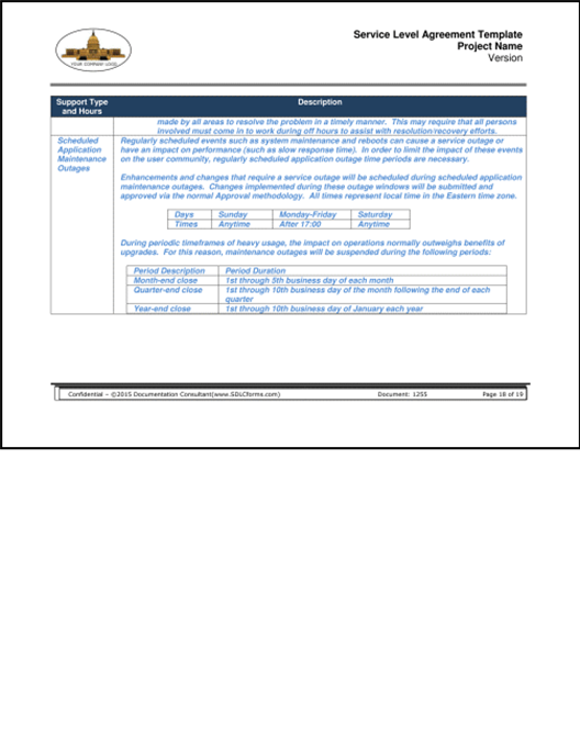 Sdlcforms Service Level Agreement Template