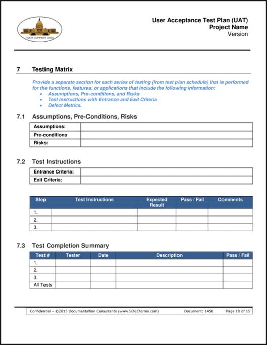 SDLCforms User Acceptance Test Plan UAT – Software Test Plan Template